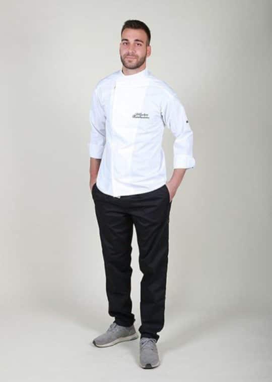 Σακάκι μαγείρων με κέντημα ονόματος και παντελόνι σε τιμή προσφοράς